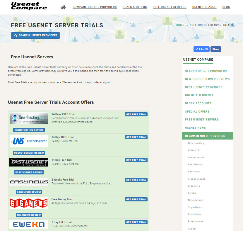 free usenet trials without credit card